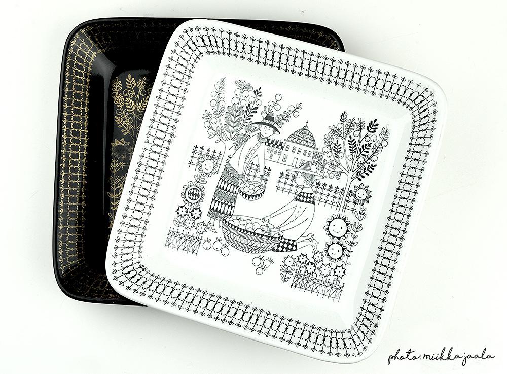 Arabia Emilia, malli G, Kaj Franck. 17,5 cm:n lautasta tehtiin kahdella värillä.