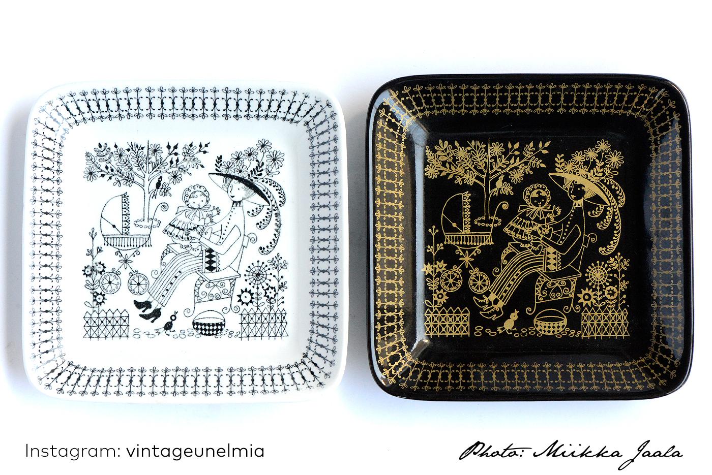 Arabia Emilia, malli G, 13,5 cm lautanen kahdessa eri värissä.