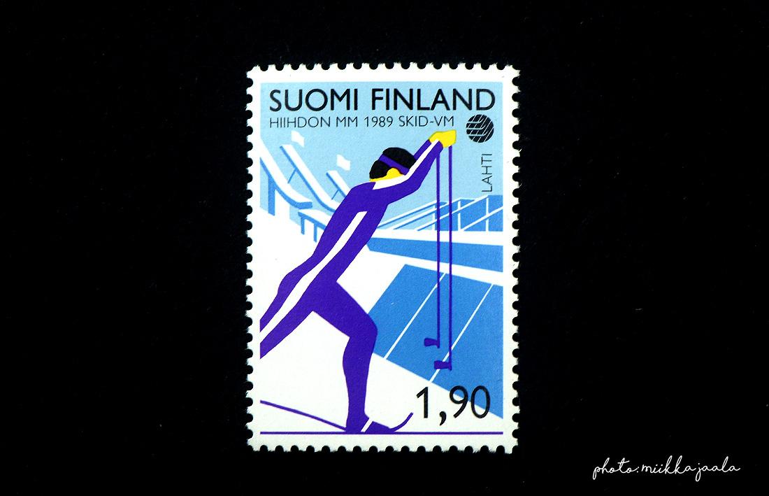 Hiihdon MM-kilpailujen postimerkit vuodelta 1989. Lape 1067.