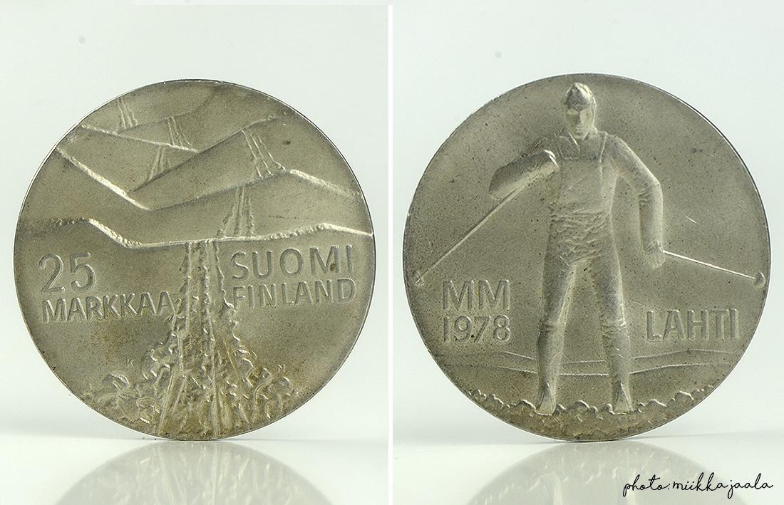 25 markan hopeajuhlaraha, aiheena hiihdon MM-kilpailut Lahdessa vuonna 1978.