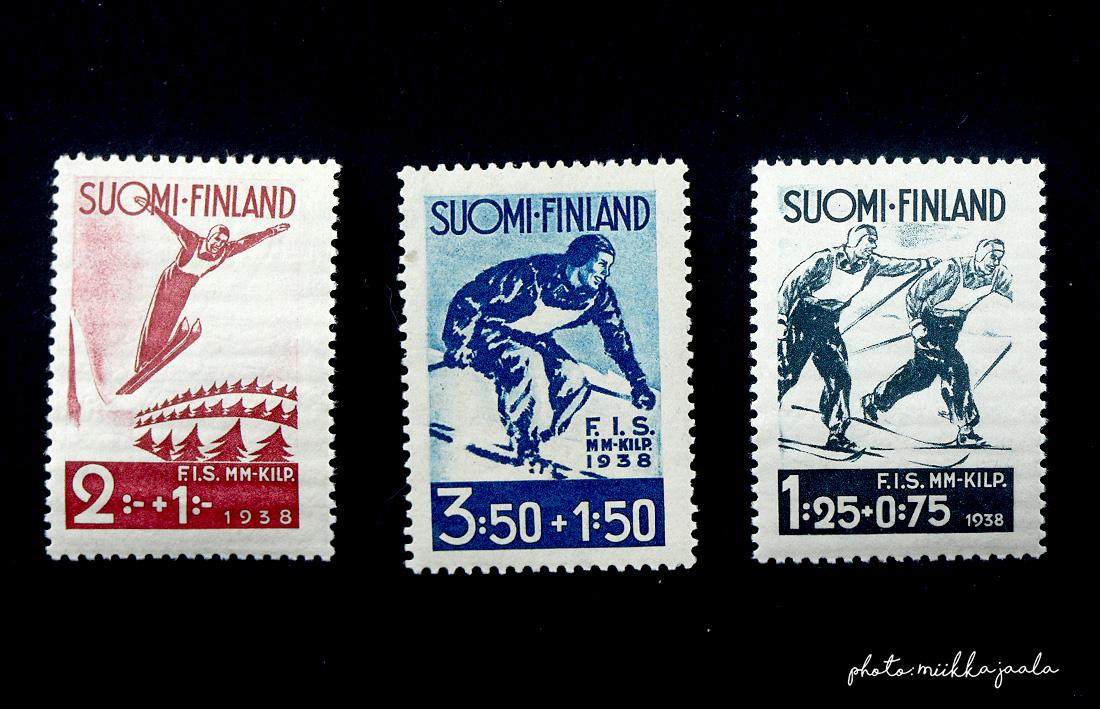 Lahden vuoden 1938 MM-kilpailujen postimerkit, Lape 208, 209 ja 210.