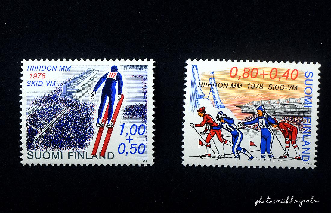 Hiihdon MM-kilpailujen postimerkit vuodelta 1978. Lape 814 ja 815.