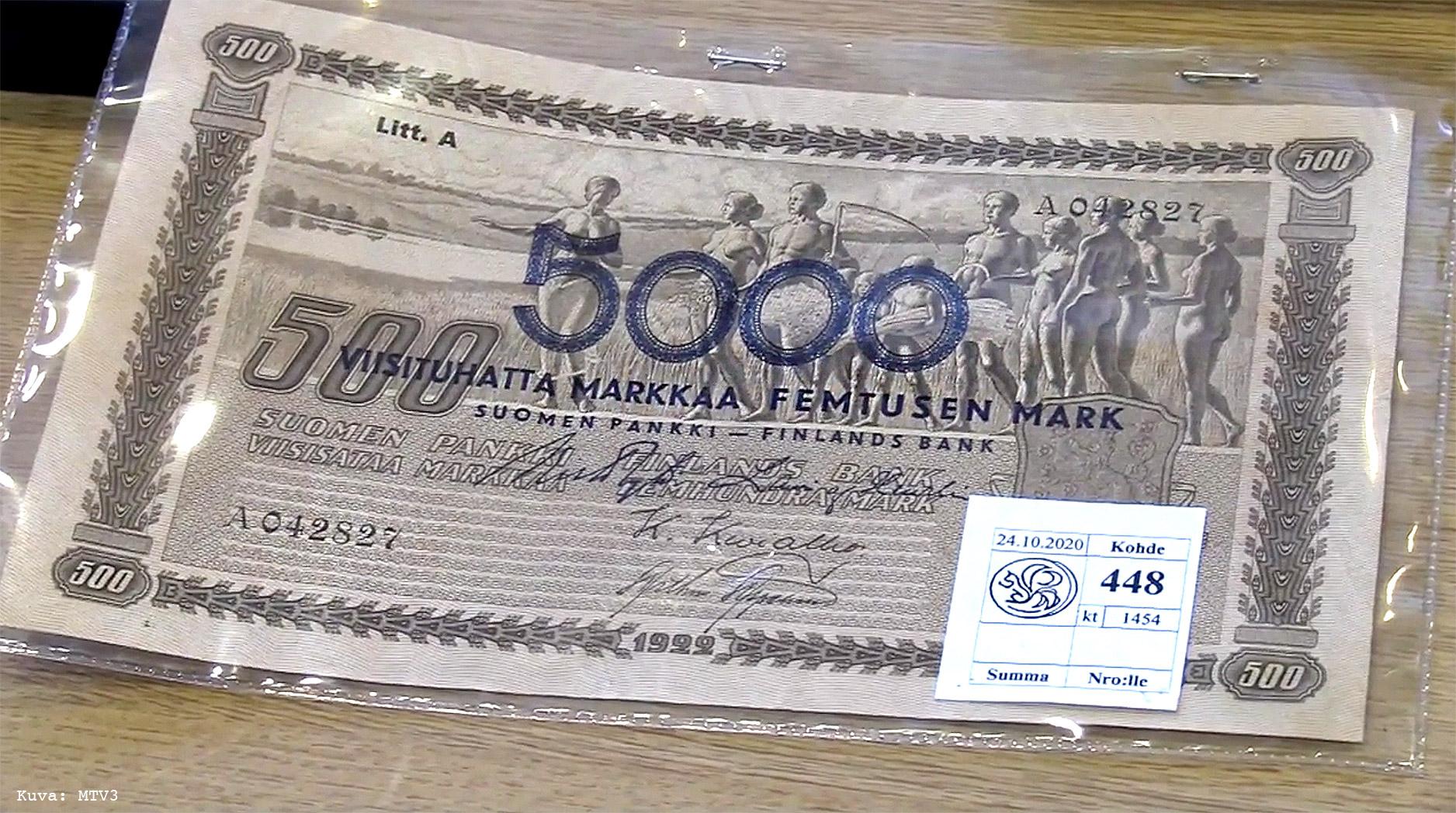 Harvinainen 5000 markan päällepainettu seteli myytiin Pohjois-Karjalassa
